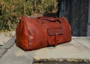 Leather Bag Duffel Travel Men Luggage Gym Vintage Genuine Weekend Overnight New""