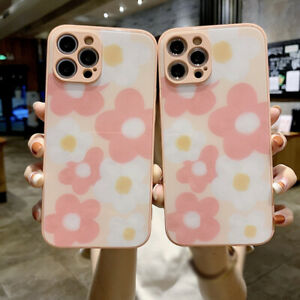 For iPhone 12 Pro Max 11 XS XR X 7 8 Plus Flower Liquid Glass Hybrid Case Cover