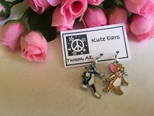 Silvertone Tom and Jerry -Tom Cat / Jerry Mouse Cartoon Dangle Earrings