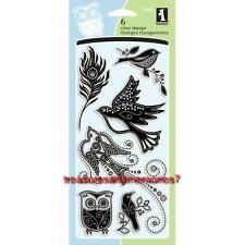 INKADINKADO Clear Stamps GEM STONE BIRDS Owl Feather Dove