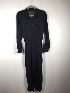 Marimekko Uniqlo womens navy black jumpsuit size M long sleeve belted viscose
