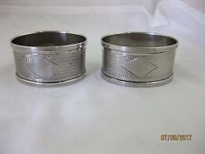 Solid Silver  PAIR OF OVAL NAPKIN RINGS  Hallmarked  BIRMINGHAM 1936