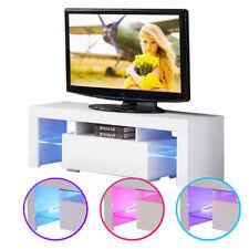 Muebles TV de Blanco Gabinete Soporte De TV Con Iluminación LED 130x35x45cm 220V