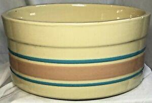 "Vintage McCoy Pottery Souffle Baking Dish 7"" Bowl Blue Pink Stripes USA 0143"