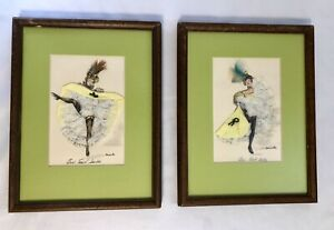 TWO RARE Janicotte Art Works Can Can Dancers SIGNED 1950s Paris, France MCM