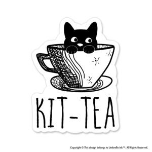 Kitten Tea Cat Sticker Funny Cute Pet Decal Car Vinyl