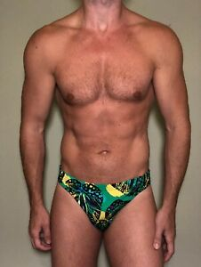 Mens Retro Green Swim Brief - Medium