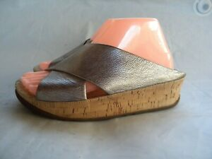 FitFlop Kys Silver Leather Slide Sandal Cork Wedge Size 7