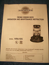 KERO-SUN -TOYOSTOVE KRA 105 Owners/Parts Manual    ***FREE SHIPPING!!