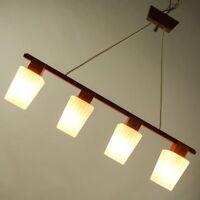 Balken Pendel Leuchte Glas Teakholz Hänge Lampe 4flammig Vintage 50er 60er