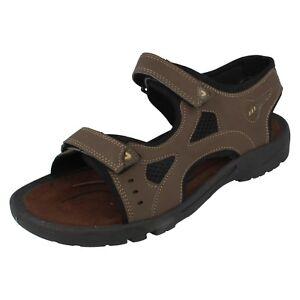 Mens Excelsior Dark Brown Riptape Straps Sandals 888106B