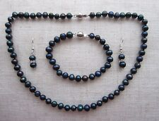 "Akoya Peacock Black Cultured Pearl Necklace, Bracelet & Earrings Set 18"" -7/8 mm"