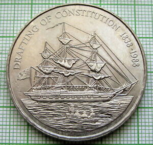 PITCAIRN ISLANDS 1988 1 DOLLAR, Drafting of the Constitution, SAILING SHIP, UNC