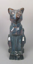 Modernist Art Deco Shearwater Pottery Cubist Cat Walter Anderson Blue Southern