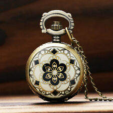 Mini Cute Flower Pattern Women Quartz Pocket Watch Necklace 80CM Chain Gift