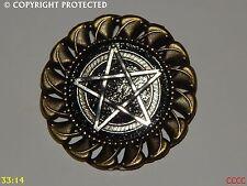 Lo Steampunk PIN Badge Spilla Argento Gotico Pentacolo Pentagramma Pagano Wicca