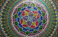 "Original  Dot Art -  16"" X 20"" canvas Hand painted dot mandala.  . SIGNED/dated"