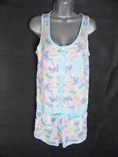 Playsuit Size M 10-12 Cotton Palm Print 80s Club Tropicana Vibes Shorts Holiday