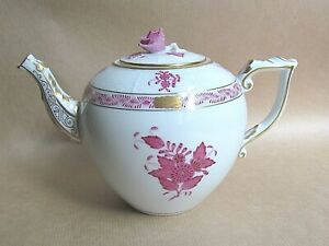 HEREND APPONYI CHINESE BOUQUET AP PURPLE 604 SMALL TEAPOT -MINT/UNUSED (Ref7241)