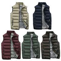 Men Casual Warm Vest Fashion Sleeveless Jacket Cotton Padded Waistcoat Outwear