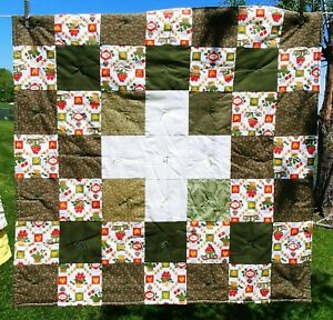 """Hand Made 36"""" Lap Quilt Red, Green Cream Calico Signed Muskegon MI"""