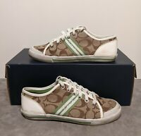 Coach Womens Barrett Signature C Khaki Brown Size 6.5 B Lace Up Sneakers