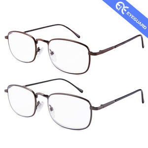 EYEGUARD High Magnification Power Metal Reading Glasses Spectacles Unisex 2 PCS