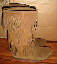 WOMENS MINNETONKA 1638 TRIPLE LAYER BROWN SUEDE FRINGE BOOTS SIZE 8