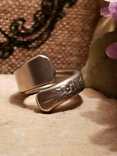 Vintage sterling Silver plated Spoon Ring handmade 7