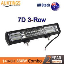 7D+Tri-Row 14inch 360W Combo LED Work Light Bar Spot Flood Jeep Truck Boat SUV
