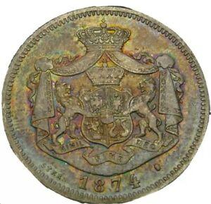 1874 1 Leu Silver .Carol I Romania.  Nice Toning