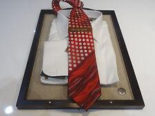 Steven Land Big Knot Seidenkrawatte Krawatte rot grau ISH White Polka Dot Wave