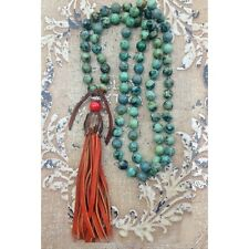 NEW Anthropologie Green African TURQUOISE Tassel MALA Prayer Gemstone NECKLACE