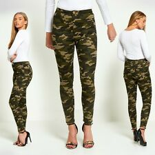 Womens Ladies Army Camo Print High Rise Skinny Slim Fit Jeans Size 6 8 10 12 14