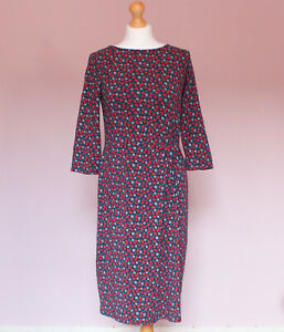Seasalt blue and red berry print Woodland Solstice 3/4 sleeve jersey dress UK 10