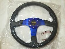 MOMO STYLE FLAT STYLE 350MM PVC STEERING WHEEL BLUE FIT MOMO OMP SPARCO MUGEN