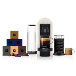 Nespresso Vertuo Plus White Coffee Machine & Aeroccino3 + 60 Vertuo Capsules