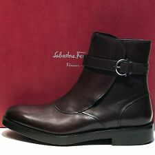 FERRAGAMO Mens POWER Runway Dress Leather 10 43 Ankle Gancini Buckle Brown Boots