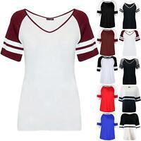 Womens Contrast Sleeve Baggy Oversized Ladies Varsity Basketball Tee T Shirt Top