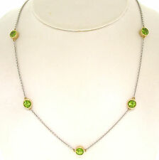 """14k Two Tone Gold 13.85ctw 12 Station Peridot by the Yard 26"""" Chain Necklace"""