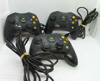 Lot of 3 Original Microsoft Xbox Wired Black S Controllers - Untested