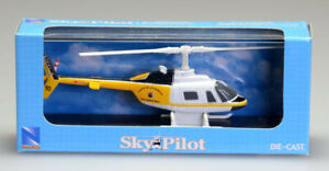 New Ray Sky Pilot Bell 206 Jetranger Diecast Helicopter Model with Display Case