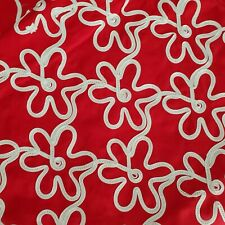 "Floral Red Background White Flat Cord Stitched Flowers Cotton Fabric 54""L X 55""W"