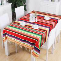Large Mexican Tablecloth Serape Blanket with Pom Pom Trim for Mexican Home Decor