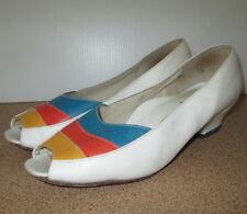 Ladies Allerton Shoes Size 7.5 Leather Australian Made Peep Toe Slip On