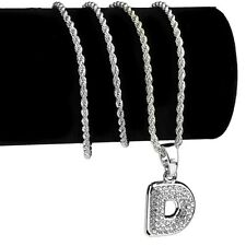 """Micro Letter D Rope Chain Iced Initial Pendant Silver Tone Necklace 24"""" In"""
