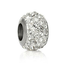 Stainless Steel European Style Charm Beads Round Silver Tone Clear Rhinestone