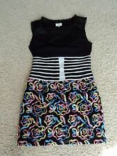 CELEBRITY STYLE MINI COLORFUL ROSETTE LINED FITTEDSLEEVELESS DRESS XS
