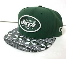 88219cd03bb s m adjustable NEW YORK JETS STRAPBACK HAT Green Geometric Gray Pattern  Brim Men