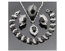 925 Silver Black Sapphire White Topaz Necklace bracelet Ear Ring Set #W6-87